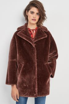 Whistles Chocolate Faux Fur Coat