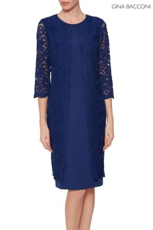 Gina Bacconi Navy Clarabelle Lace Dress