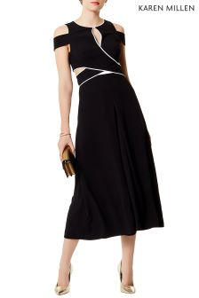 Karen Millen Black Piped Detail Cut Out Jumpsuit