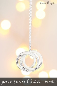 Personalised Sterling Silver Russian Rings Pendant Necklace By Lisa Angel