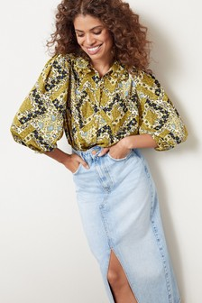 Embroidered Collar Top