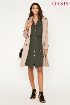 Oasis Green Cupro Shirt Dress