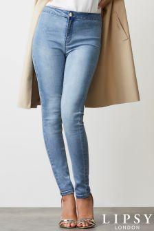 Зауженные джинсы обычной длины с высокой талией Lipsy