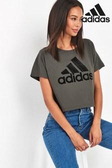 adidas Khaki Graphic Cropped T-Shirt