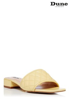 Dune London Yellow Novi Soft Quilted Mules