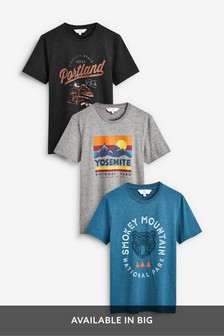 T-Shirts mit Grafik-Print, 3er-Pack