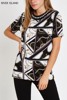 River Island Monochrome Scarf Print Embelished Neck Tee