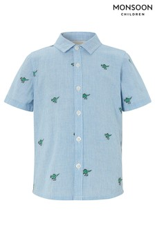 Monsoon Blue Nixon Dinosaur Embroidered Short Sleeve Shirt