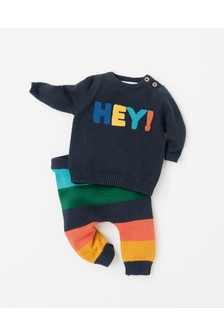 Knit Hey Slogan Jumper And Stripe Legging Set (0mths-2yrs)