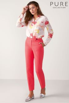 Pure Collection Pink Cotton Stretch Sateen Ankle Trouser