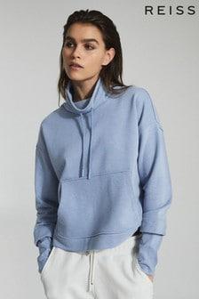 Reiss Blue Julietta Loungewear Funnel Neck Sweatshirt