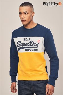 Superdry Navy/Yellow Panel Crew Sweater