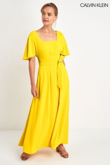 Calvin Klein Yellow Smooth Twill Prairie Dress