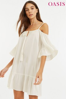 Oasis White Cold Shoulder Cover-Up