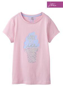 Joules Astra T-Shirt aus Jersey mit Applikation, rosa