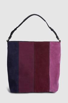 Кожаная сумка-хобо в стиле цветных блоков