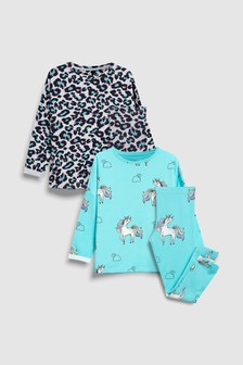 Набор из двух длинных пижам с рисунком единорога/леопарда (3-16 лет)