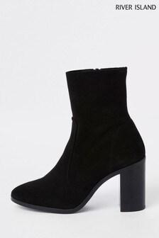 River Island Black Suede Sock Boot