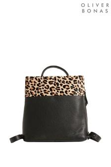 Oliver Bonas Black Textured Animal Print Black Leather Backpack