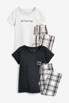 2 Pack Woven Check Pyjamas (3-16yrs)