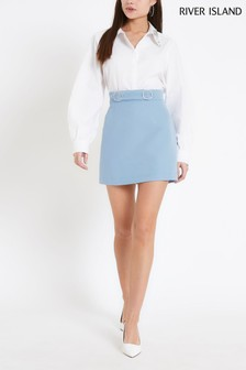 River Island Light Blue Diamanté Mini Skirt