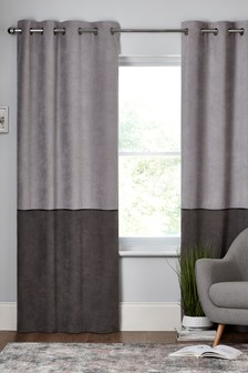 Velvet Panel Eyelet Lined Curtains