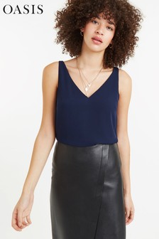 Oasis Navy Formal Vest Top