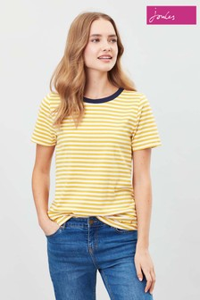 Joules Yellow Selma Crew Sweater With Pop Neck Trim