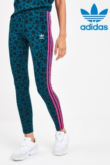 adidas Originals Blue Leopard 3 Stripe Leggings