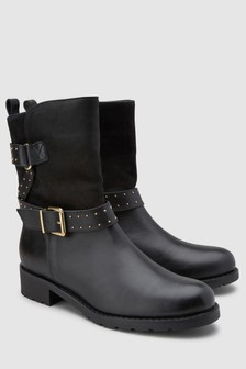 Signature Comfort Leather Biker Ankle Boots