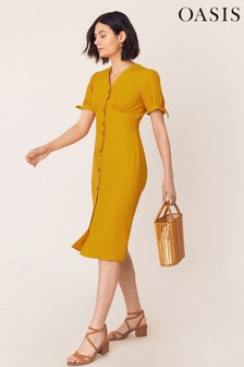 Oasis Yellow Midi Button Through Dress