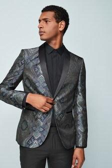 Tapestry Jacquard Skinny Fit Tuxedo Jacket