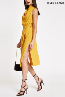 River Island Dark Yellow Cowl Neck Midi Dress