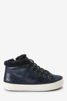 Faux Fur Trim High Top Trainers (Older)