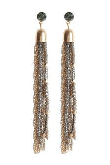Beaded And Chain Tassel Earrings