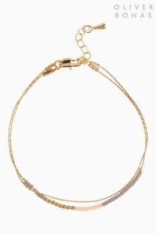 Oliver Bonas Gold Tone Morel Tiny Bead And Chain Bracelet