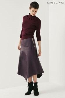 Mix/Richards Radcliffe Asymmetric Leather Skirt