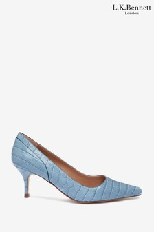 L.K.Bennett Blue Franny Piping Pointed Court Shoes
