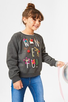 Christmas Pom Pom Sweat Crew (3-16yrs)