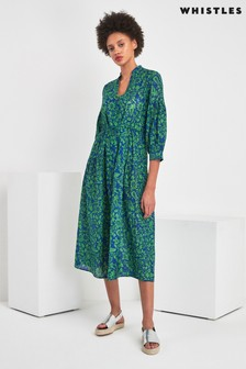 Whistles Green Valeria Henna Print Shirt Dress