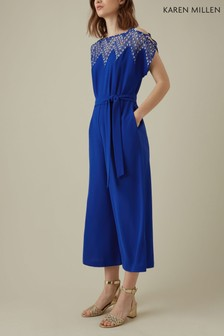 Karen Millen Blue Diamond Lace Collection Jumpsuit
