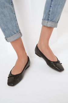 Leather Square Toe Ballerina Shoes