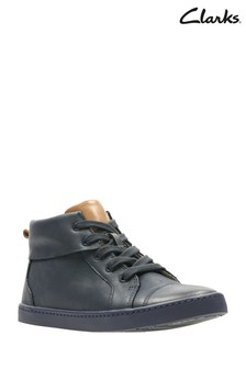 Clarks Navy Leather City Oasis Lace Up Toddler Trainer