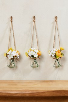 Yellow artificial flowers decorative accessories next uk set of 3 mini hanging jars mightylinksfo