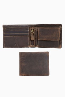 Кожаный бумажник двойного сложения с отделением для монет
