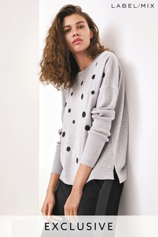 Next/Mix Embroidered Polka Dot Merino Knit