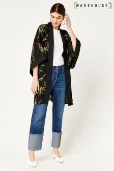 Warehouse Black Songbird Kimono