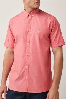 Slim Fit Short Sleeve Stretch Oxford Shirt