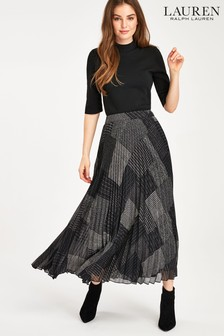 Lauren Ralph Lauren® Patchwork Check Pleated Midi Skirt
