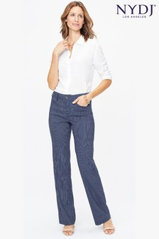 NYDJ Blue Stripe Stretch Linen Trouser